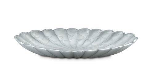 """$99.00 Peony 16"""" Oval Bowl Snow"""