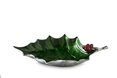 "$175.00 Holly Sprig 17"" Bowl Emerald .."