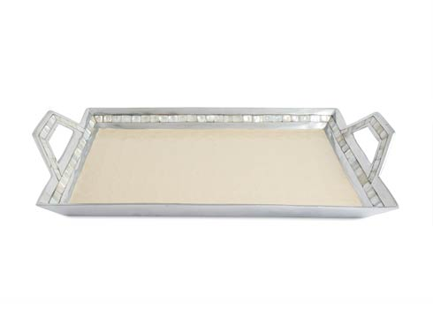"$275.00 Classic 21"" Beveled Tray w/Handles Snow"