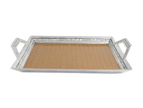 "$275.00 Classic 21"" Beveled Tray w/Handles Toffee"