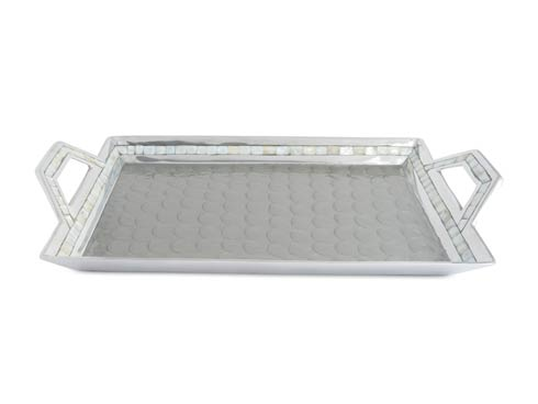 "$275.00 Classic 21"" Beveled Tray w/Handles Platinum"