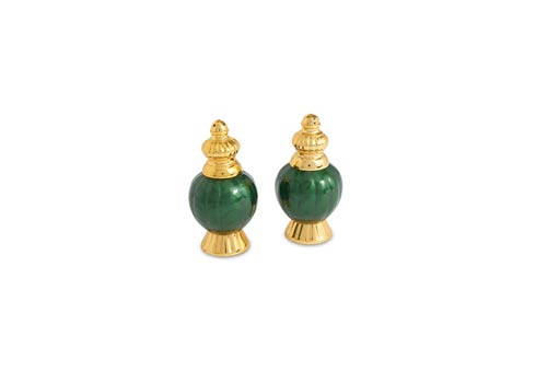 "$75.00 Peony 4"" Salt & Pepper Set Gold Emerald"