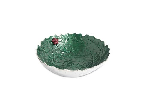 "$99.00 Holly Sprig 12"" Bowl Emerald"