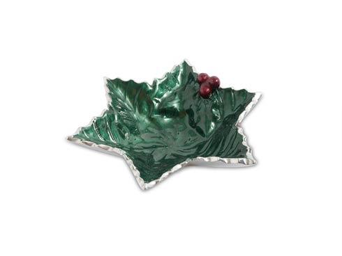 "$40.00 Holly Sprig 6"" Starflake Bowl Emerald"