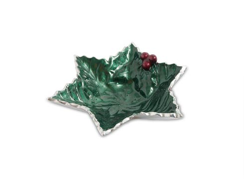 "$40.00 Holly Sprig 6"" Starflake Bowl Emerald"