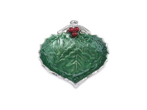 "$40.00 Holly Sprig 7"" Ornament Bowl Emerald"