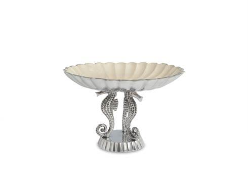 "$135.00 Sea Horse 10"" Pedestal Bowl Snow"