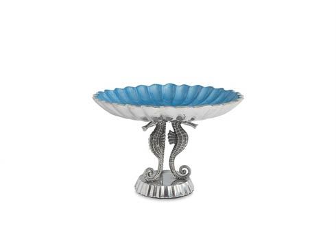 "$135.00 Sea Horse 10"" Pedestal Bowl Azure"