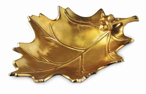 "$195.00 Oak Leaf 15"" Bowl Gold"