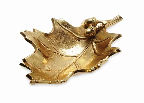 "$160.00 Oak Leaf 13"" Bowl Gold"