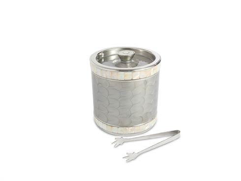 "Julia Knight Barware Ice Bucket Classic 8"" Jumbo Double Walled Ice Bucket w/Tongs Platinum $185.00"