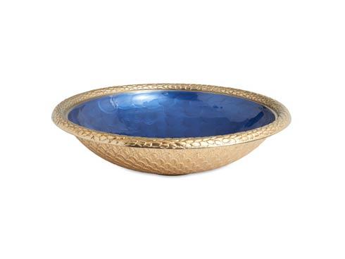 """$250.00 Florentine 15"""" Round Bowl Gold Sapphire"""