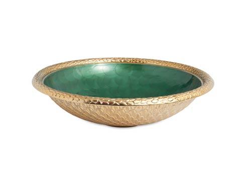 """$250.00 Florentine 15"""" Round Bowl Gold Emerald"""