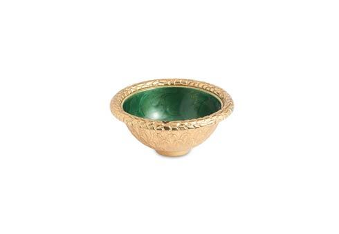 """$48.00 Florentine 4.25"""" Round Bowl Gold Emerald"""