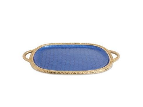 "$299.00 Florentine 22.5"" Handled Tray Gold Sapphire"