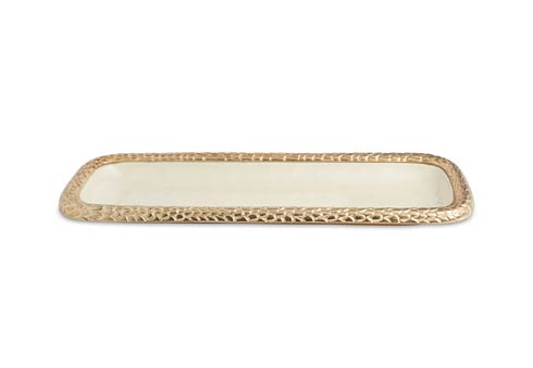 "$135.00 Florentine 16"" Rectangular Tray Gold Snow"