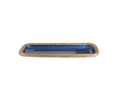 "$135.00 Florentine 16"" Rectangular Tray Gold Sapphire"