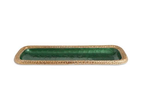 "$135.00 Florentine 16"" Rectangular Tray Gold Emerald"