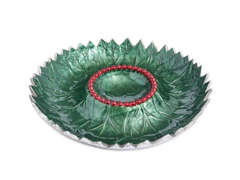 "$145.00 Holly Sprig 13.5"" Chip & Dip Bowl Emerald"