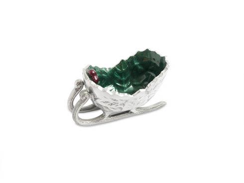 "$50.00 Holly Sprig 5.5"" Petite Sleigh Bowl Emerald"