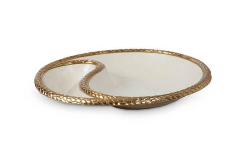 "$235.00 Florentine 13"" Yin Yang Bowl Gold Snow"