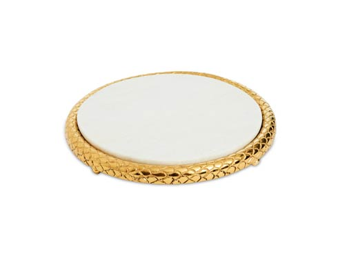 """$99.00 Florentine 11"""" Marble Cheese Tray Gold"""