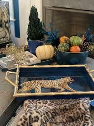 Jeffrey Bannon Exclusives   Gold Bamboo Leopard Tray $189.00
