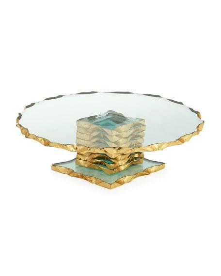 """$89.50 Gold Crimped 9""""Cake Stand"""