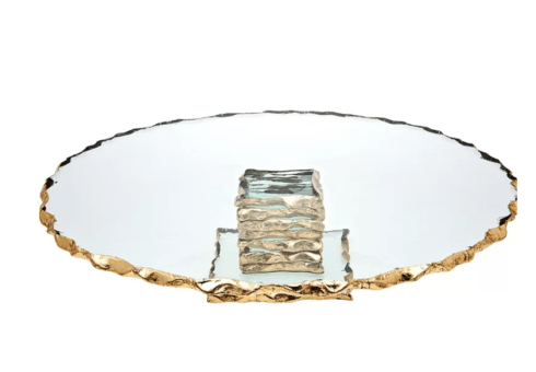 "Jeffrey Bannon Exclusives   Gold Crimped 13""Cake Stand $159.00"