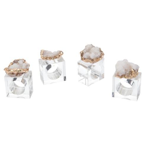 Jeffrey Bannon Exclusives   Gold Geode Crystal Napkin Rings $24.00