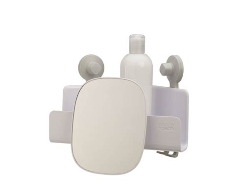 $25.00 EasyStore Corner Shower Caddy with Mirror - White