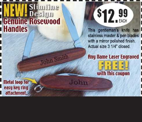 $12.99 Rosewood Pocket Knife