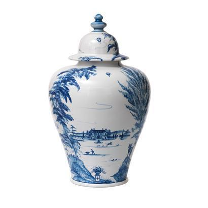 "Juliska Country Estate Delft Blue 17"" Lidded Ginger Jar Estate Grounds $435.00"