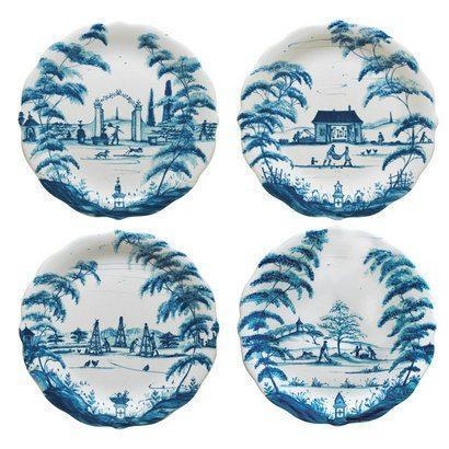 Juliska Country Estate Delft Blue Party Plates Set/4 Spring Gardening Scenes $118.00