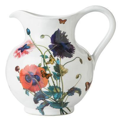 Juliska  Field of Flowers Large Pitcher Oriental Poppies White Truffle $159.00