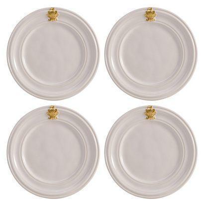 Juliska  Acanthus Whitewash/Gold Cocktail Plate Set/4 $98.00