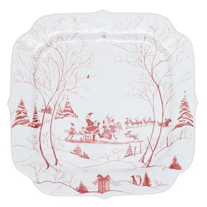 Juliska Country Estate Ruby Santa's Cookie Tray Naughty and Nice List $98.00