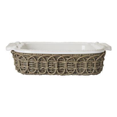 Juliska  Waveney Wicker Greywash Square Baker Holder $55.00