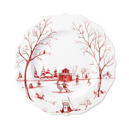 "Juliska Country Estate Ruby Winter Frolic ""The Claus\' Christmas Day"" Ruby Dessert/Salad Plate $48.00"