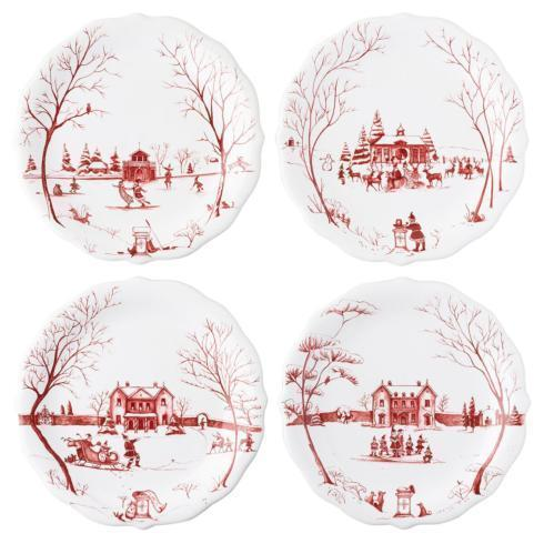 "Juliska  Country Estate Winter Frolic Winter Frolic ""Mr. & Mrs. Claus"" Ruby Party Plates Set/4 $158.00"