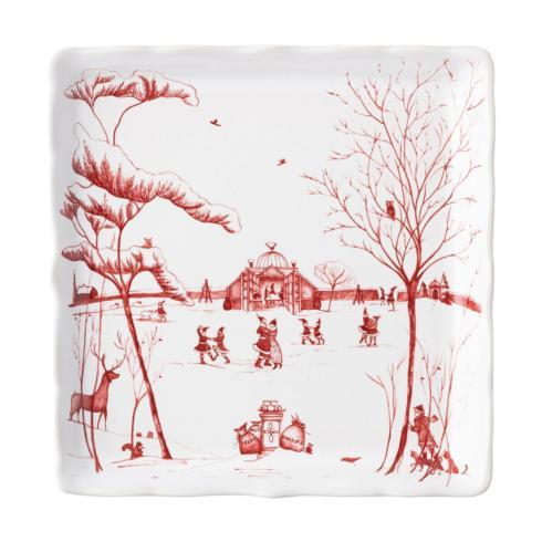 "Juliska  Country Estate Winter Frolic Winter Frolic ""Mr. & Mrs. Claus"" Ruby Sweets Tray $68.00"