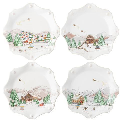 Juliska  Berry & Thread North Pole Scalloped Dessert/Salad Plate Set/4 $188.00