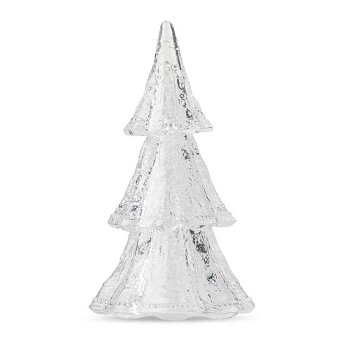 """$195.00 10.5"""" Medium 3pc Stacking Glass Tree, Clear with Snow"""