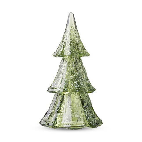 """$195.00 10.5"""" Medium 3pc Stacking Glass Tree, Evergreen with Snow"""