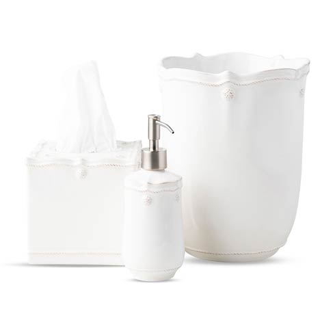$230.00 Whitewash 3pc Bath Essentials Set (Soap/Lotion Dispenser, Tissue Box Cover, and Wastebasket)