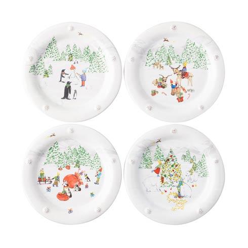 Juliska  Berry & Thread North Pole Cocktail Plates, Assorted Set/4 $135.00