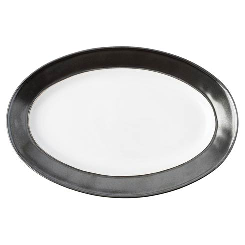 """$115.00 White/Pewter 15"""" Platter"""