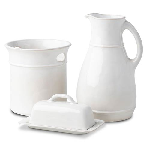$168.00 3pc Essential Accessories Set (Utensil Crock, Butter Dish, Pitcher/Vase)