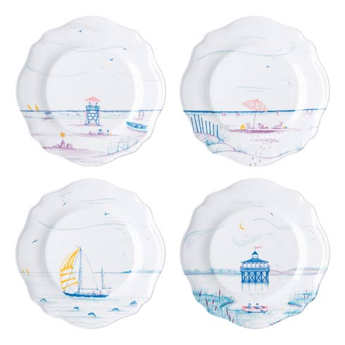 Country Estate Seaside Dessert/Salad Plates, Assorted Set of 4