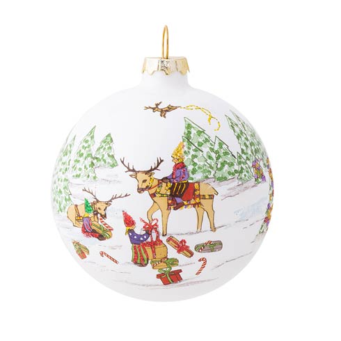 $39.00 Berry & Thread North Pole Reindeer Glass Ornament